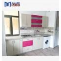 PAL mobila bucatarie front alb roz